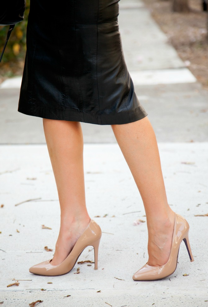 top fall fashion trends black leather pencil skirt monochrome blouse nude heels