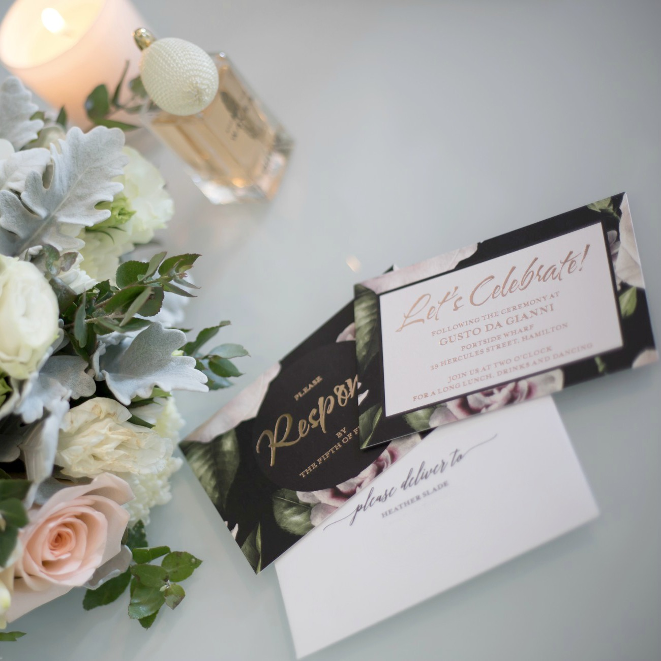white and rose gold beautiful wedding invitations idea black floral invitations