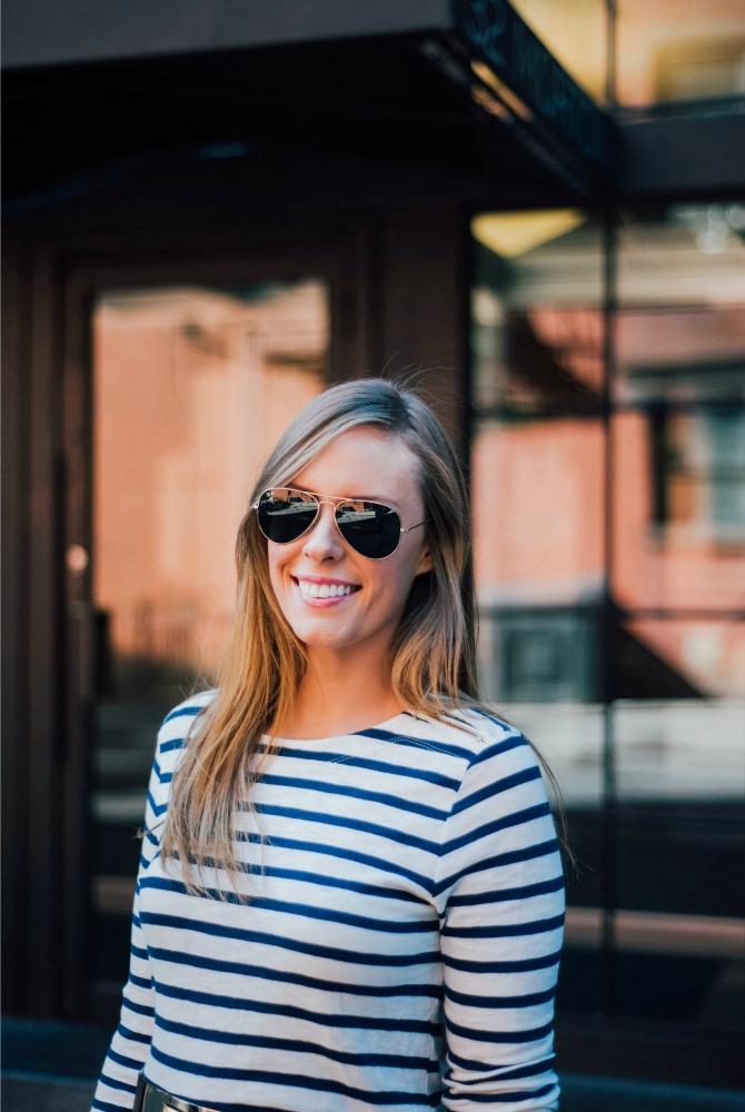 nautical outfit ideas stripe top coastal style blogger fashion