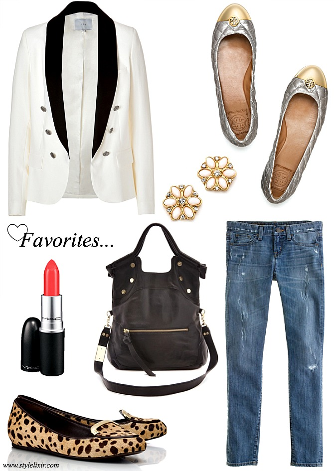 Favorites-Link-Up-Blazer-Tory-Burch-Flats-Leopard-Kate-Spade-Flower-Earrings-J.Crew-Jeans-Shopbop-Handbag