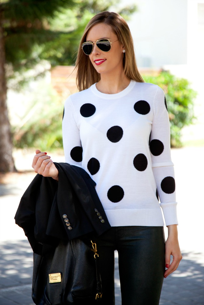 Lauren Slade Style Elixir fashion blog j.brand leather pants polka dot equipment sweater