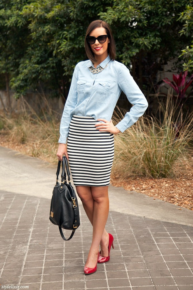 One Stripe Black and White Pencil Skirt Chambray Button Down Shirt Prada Sunglasses Red Patent Heels Marc Jacobs Handbag LOFT by Giuliana Rancic Necklace Victorias Secret Lipstick