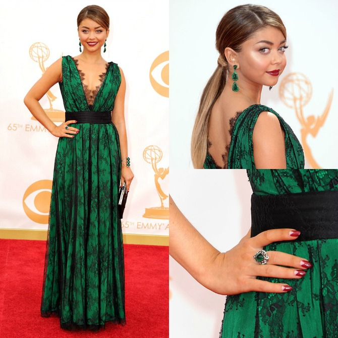 Sarah Hyland Emerald Green Emmy Awards 2013 Nails Hair Dress Celebrity Style