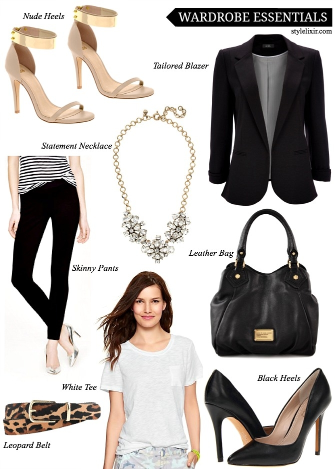 Womens Wardrobe Essentials Style Fashion Marc Jacobs Handbag Black Heels Leopard Belt JCrew Pants White Tee Statement Crystal Necklace Black Wallis Blazer Nude Heels Asos