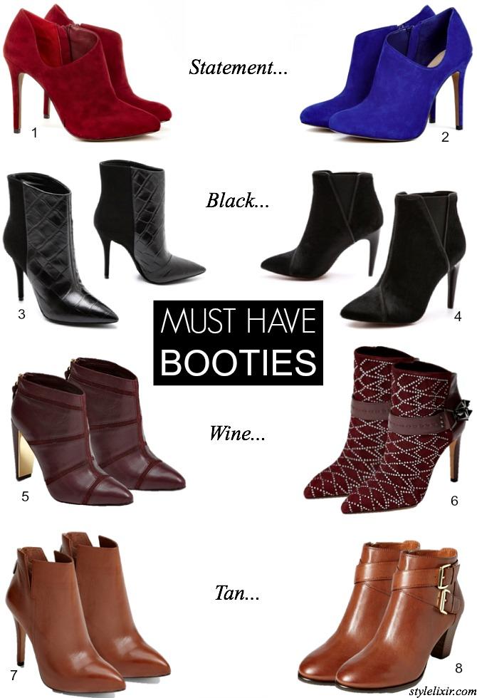 Booties Trends Statement Cobalt Red Suede Wine Tan Black Croc Embossed Pony Hair Fall Winter