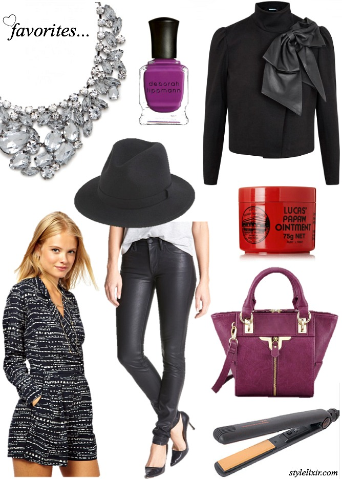 Favorite fashion style round up leather bow papaw ointment baublebar statement necklace GHD hair flat irons felt hat fedora nail polish deborah lippmann playsuit ASOS plum leather handbag trends fall 2013