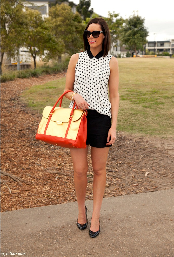 Polka-Dots-Peter-Pan-Collar-Gold-metallic-Handbag-Mi-Piaci-Country-Road-Fashion-Style-J.Crew-Patent-Heels-Prada-Sunglasses-Jewelry-Bracelets-Black-Shorts-Monochrome-Trend-Blogger-Style-Elixir-www.stylelixir.com-Style-Sess