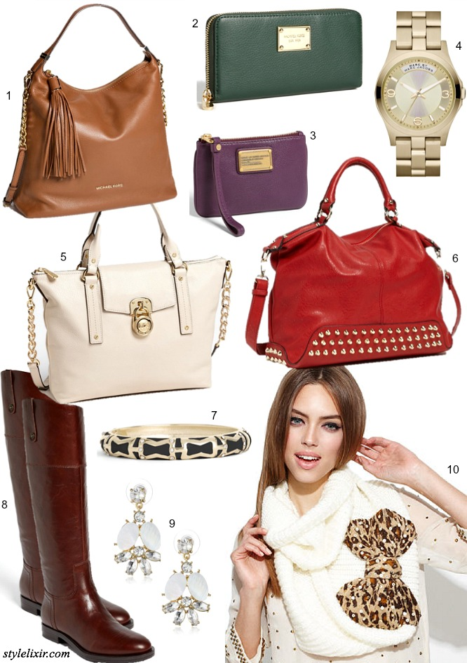 Nordstrom-Half-Yearly-Sale-Favorites-Michael-Kors-Marc-Jacobs-Betsey-Johnson-Leopard-Scarf-Handbags-Wallets-Purse-Boots-Earrings-Bangle-Kate-Spade-Watch