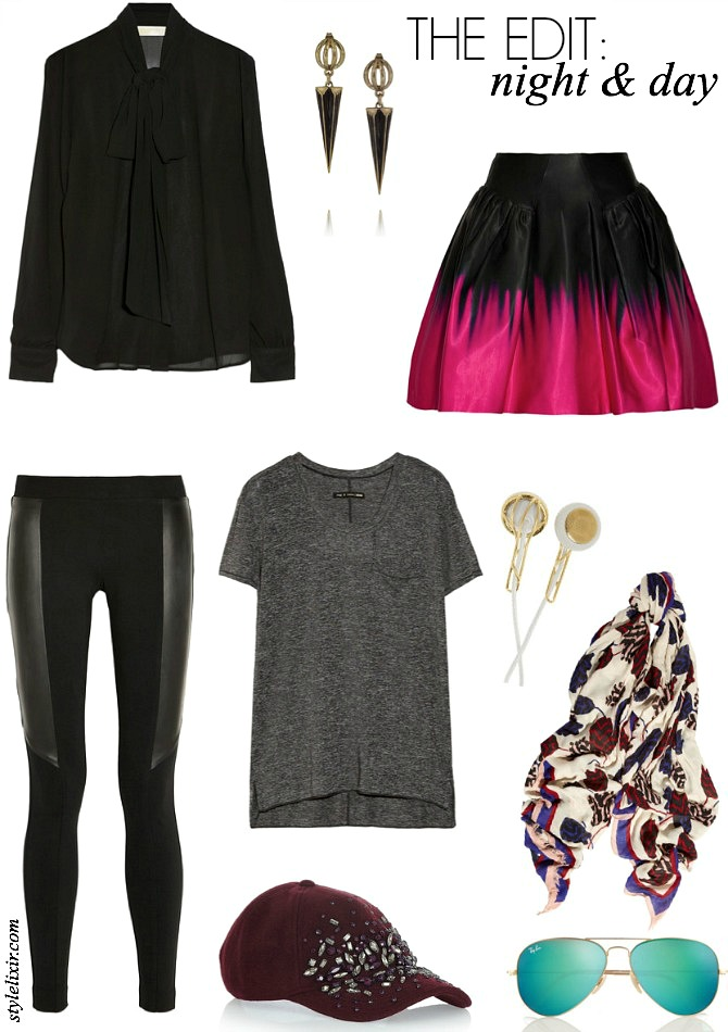 The Edit Night and Day Fashion Style Elixir www.stylelixir.com J Crew Ray Ban Marc Jacobs DKNY Leather Leggings Milly Michael Kors Bow Blouse Rag and Bone