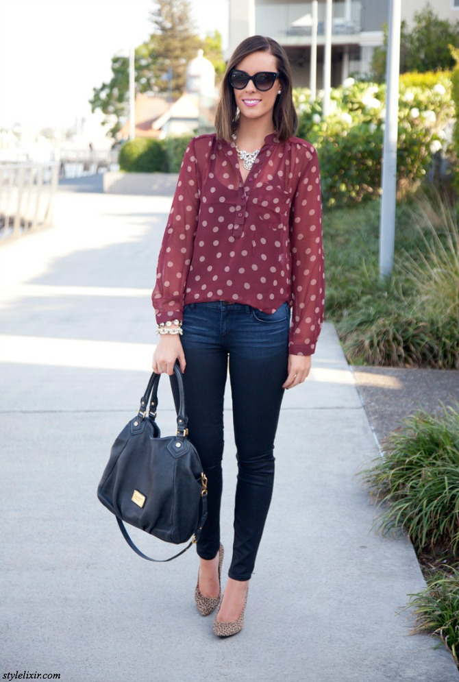 1 Polka Dots Burgundy Trend Fall Winter Fashion Style Elixir www.stylelixir.com Fashion Blog Coated Jeans Marc Jacobs Handbag Leopard Hair Heels Pave Bracelet Prada Sunglasses Statement Necklace