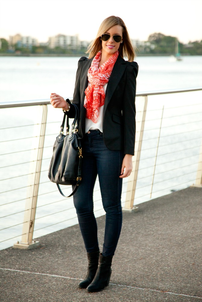 1 Coral Scarf as seen Jessica Alba Star Style Black Blazer Ray Ban Aviator Sunglasses Rag and Bone Boots Marc Jacobs Handbag Style Elixir www.stylelixir.com Fashion Blog