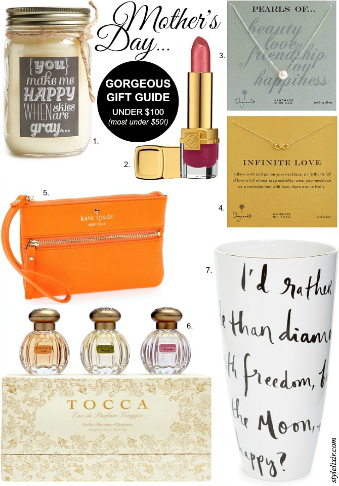 Mother's Day Gift Guide Gifts Under $50 $100 Ideas Presents Kate Spade Dogeared Tocca Perfume Spring Trends 2014 Fashion Style Elixir Blog Lifestyle Blogger