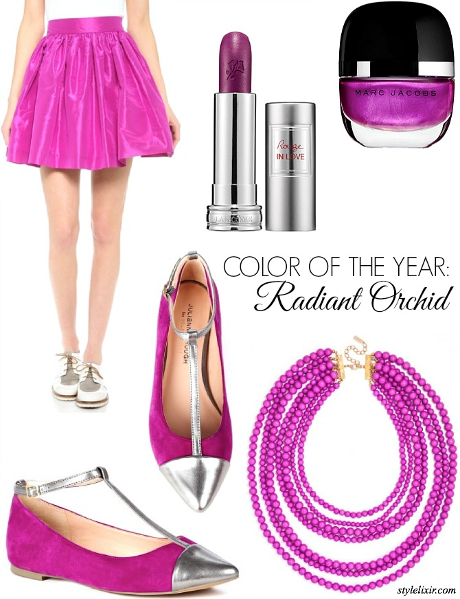 Pantone Color of the Year Radiant Orchid Fashion Style Elixir www.stylelixir.com Blo Blogger Lifestyle Pink Purple Skirt Lipstick Lancome Marc Jacobs BaubleBar Necklace