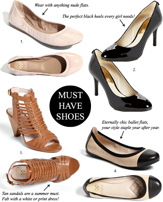 Must Have Shoes Ballet Flats Chanel Vince Camuto Under $100 Fashion Style Elixir Blog www.stylelixir.com Blogger Lifestyle Beauty Trends Spring Summer 2014 Comfortable Shoes Heels Pumps Black Leather Patent Tan Gladiator Sandals