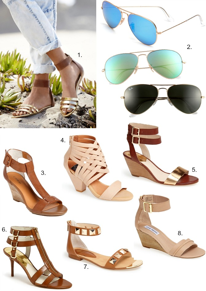 Summer Style Favorites Tan Sandals Ray Ban Aviator Sunglasses Blue Mirrored on Sale Michael Kors Nordstrom Vince Camuto Tan Gold Shoes Heels Caged