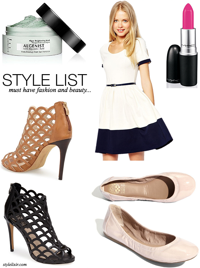 Style List What i bought this week vince camuto cage sandals black tan heels algenist algae brightening face mask sephora m.a.c candy yum yum lipstick ASOS navy and white skater dress vince camuto patent ballet flats fashion style blogger style elixir www.stylelixir.com lifestyle beauty blogger