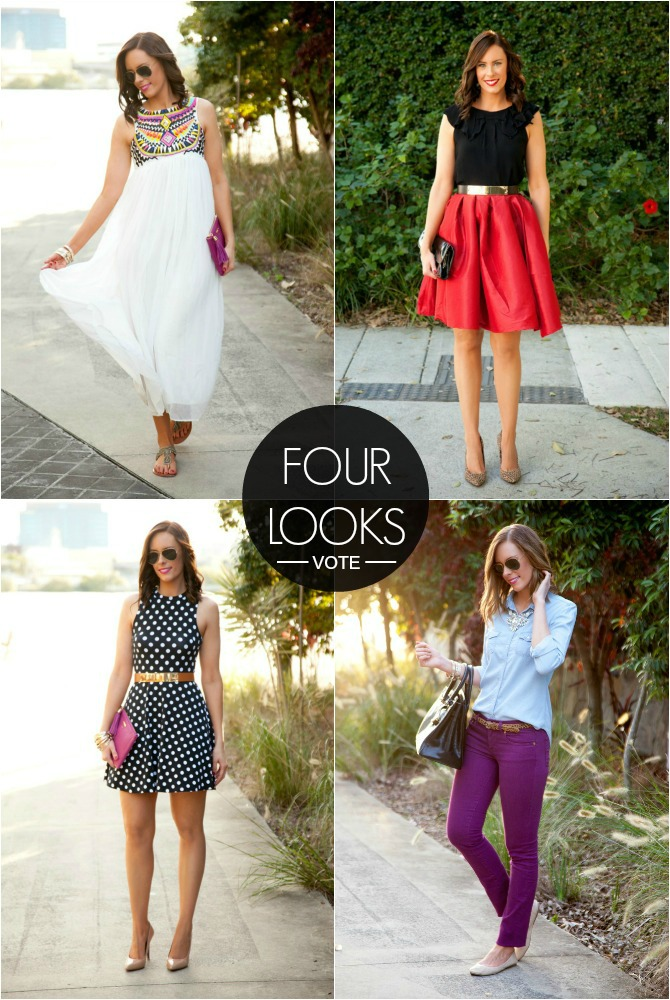 Style Sessions Fashion Link Up Outfit Four Looks vote polka dots white maxi summer dress chambray tory burch j.crew sheinside ray ban aviator sunglasses leopard fuchsia style elixir fashion blogger www.stylelixir.com lauren slade bloggers closet