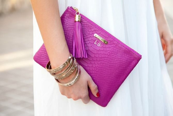Monogram Fuchsia Pink Bright leather clutch gigi new york style elixir fashion blog www.stylelixir.com blogger
