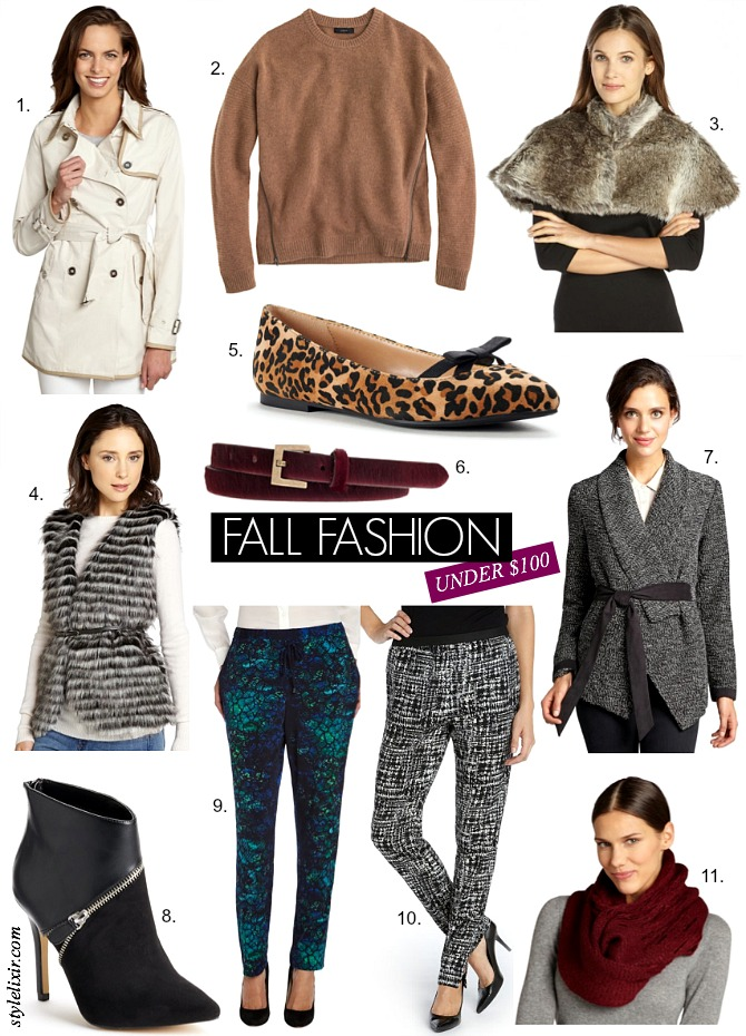 Fall Fashion Under $100 Shop Budget Style elixir www.stylelixir.com blog fall 2014 trend blogger jcrew bluefly BCBG Sam Edelman Trench leather leopard Lauren Conrad shoes Beyonce and Jay-Z On the Run Tour Paris Forever Young Halo mash-up