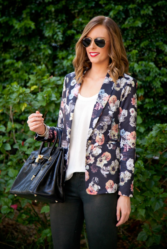 Fall Fashion Must-Haves Style Elixir blog www.stylelixir.com Lauren Slade Floral Blazer Leather J.Brand Pants Jeans Ray Ban Aviator Sunglasses Chambray Shirt J.Crew DVF Bright pink Fuchsia Blazer Diane von Furstenberg Fur Gilet Equipment polka dot cashmere sweater
