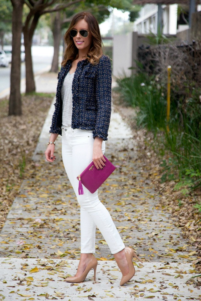 Tweed blazer navy jacket white jeans gigi new york leather clutch fashion blogger ray ban aviator sunglasses nude patent heels style elixir blog www.stylelixir.com lauren slade blogger