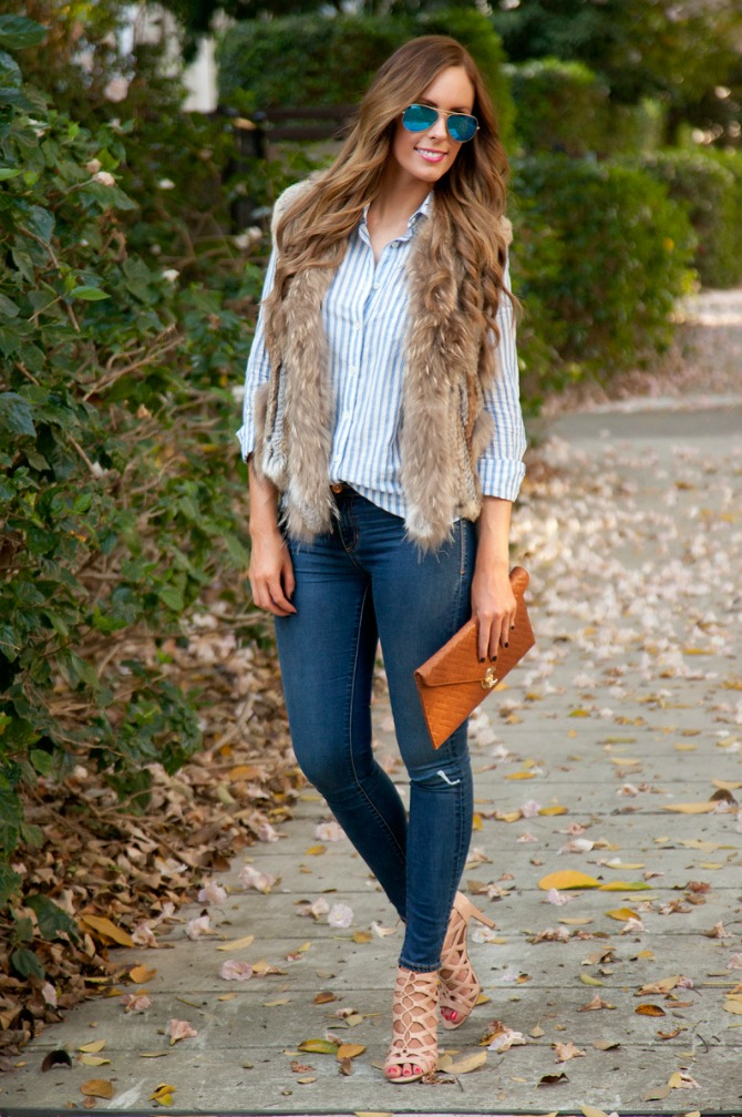 Fall fashion fur vest gilet lace up nude heels tan clutch j.crew stripe shirt button down ray-ban blue mirrored aviator sunglasses style elixir blog www.stylelixir.com fashion blogger