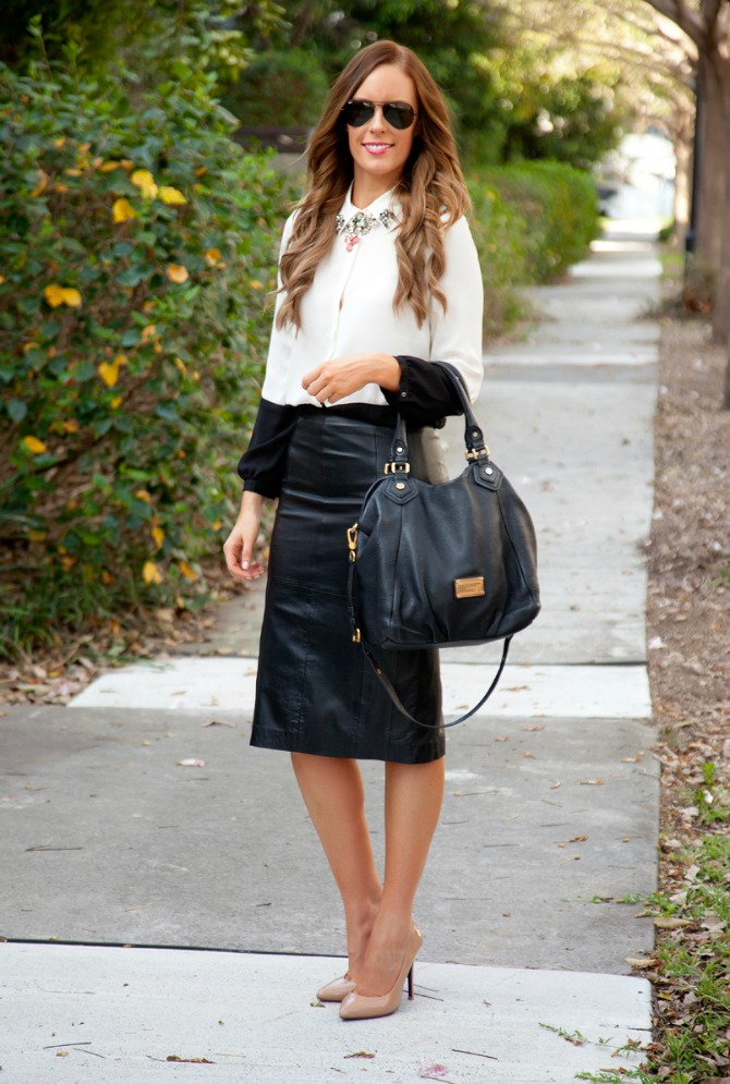 Black leather skirt monochrome black and white color block blouse fashion blogger style elixir www.stylelixir.com lauren slade blog