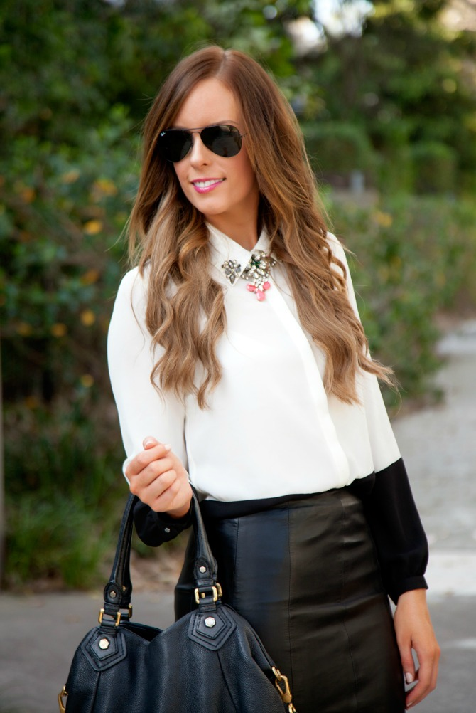 Black leather skirt monochrome black and white color block blouse marc jacobs handbag fashion blogger style elixir www.stylelixir.com lauren slade blog