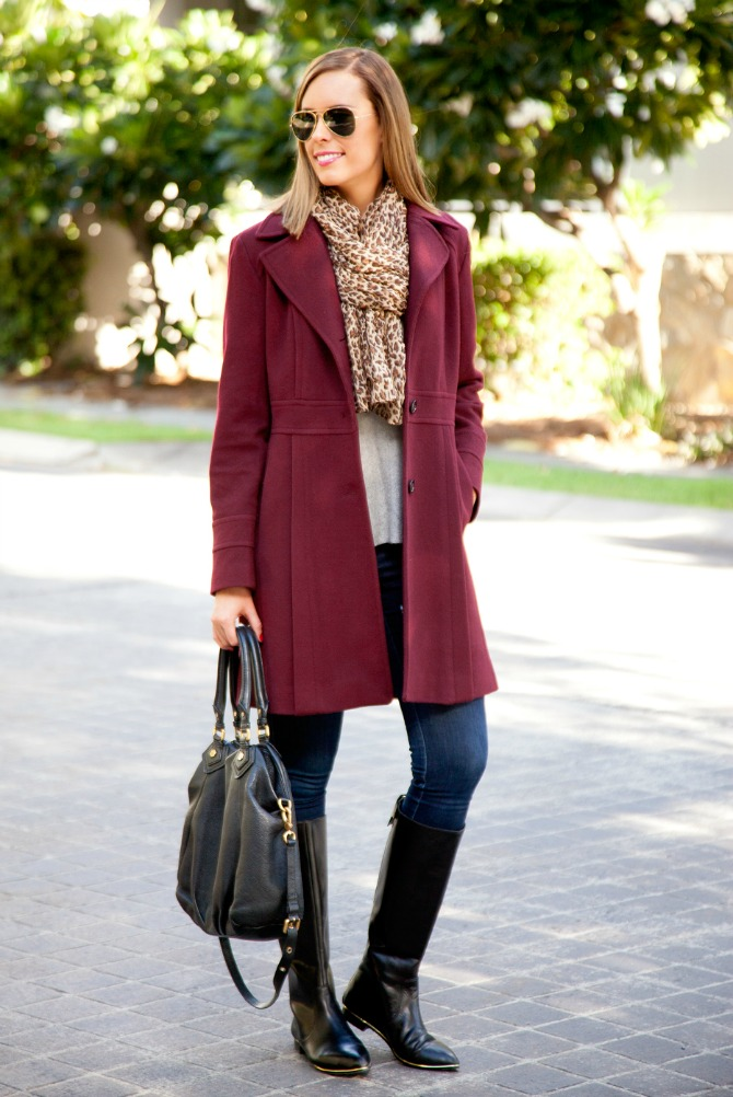 Cute fall outfits what to wear for fall michael kors wool coat leather boots marc jacobs handbag leopard skinny jeans outfits for fall fashion blogger style elixir www.stylelixir.com blog lauren slade