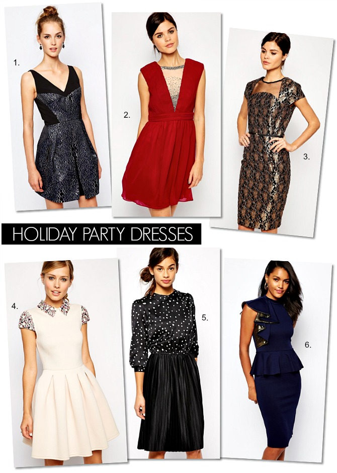 Holiday Party Dresses Sequin Metallics Work christmas party dress what to wear polka dots sequins red dress asos trends winter fashion blogger