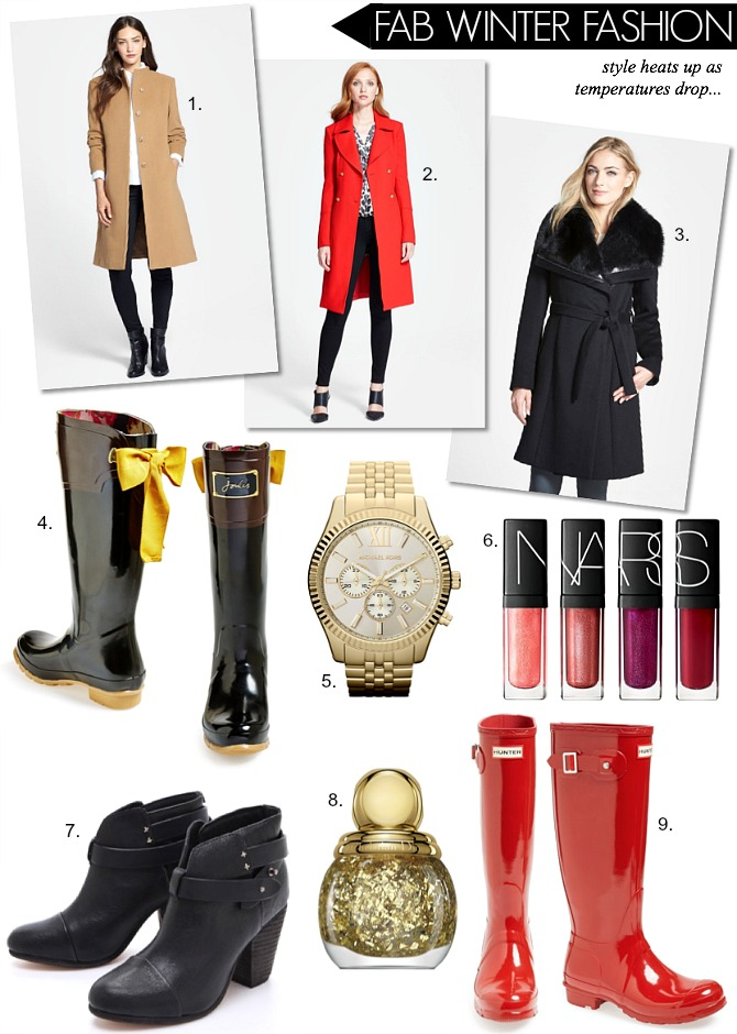 Nordstrom Winter Fashion Hunter Boots Rag & Bone Boots Wool Coat Michaek Kors Watch Nars Lip gloss bow rain boots fashion blogger giveaway nordstrom gift card