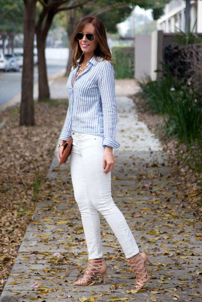 fashion fall trends blue stripe shirt neutral nude lace up heels cage sandals fashion blogger style elixir blog www.stylelixir.com lauren slade