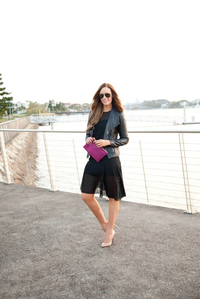 New Years Dresses Black leather jacket vince scuba jacket fashion blogger style elixir lauren slade www.stylelixir.com black on black outfit inspiration lace dress bellami hair extensions gigi new york pink clutch monogram bag ray ban aviator sunglasses chanel lip gloss