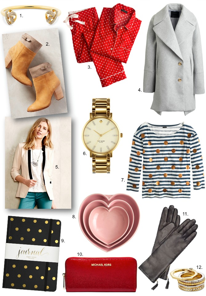 Green Monday Sales Christmas Gift Guide Present Ideas fashion blogger style elixir blog www.stylelixir.com christmas shopping polka dots michael kors wallet red polka dot pajamas j.crew leather gloves gold polka dots multi ring stack kate spade grammercy watch anthropologie stripes