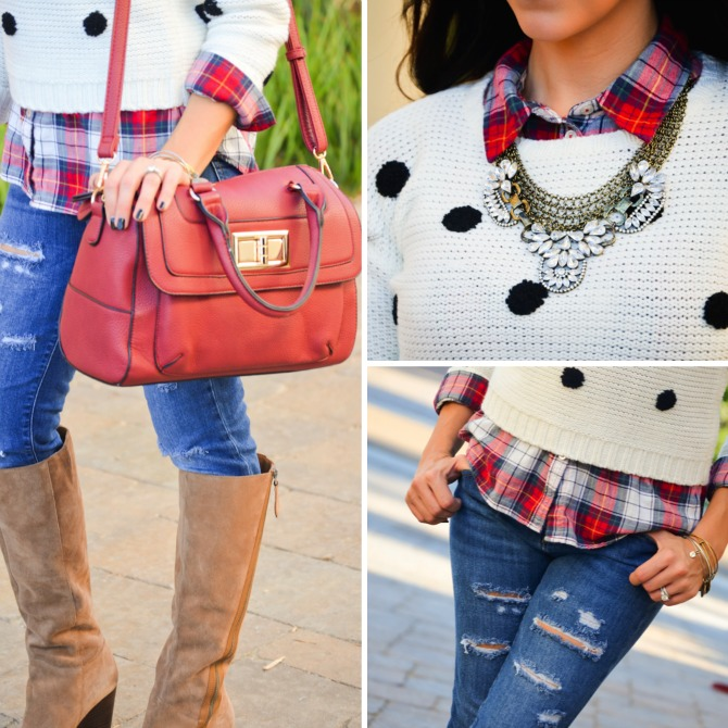 Array of Style fashion blogger stylist Ashley Lopez blogger interview head stylist polka dots plaid shirt how to wear