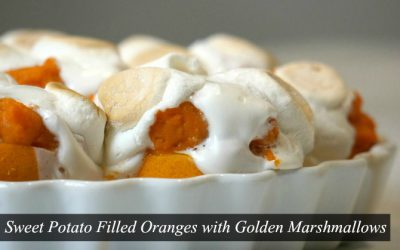Sweet Potato Filled Oranges with Golden Marshmallows