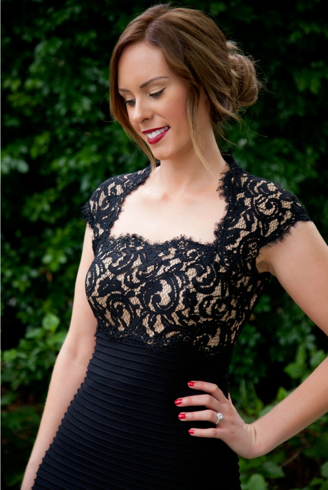 Red carpet fashion tadashi shoji black lace gown style elixir fashion blogger lauren slade www.stylelixir.com blog