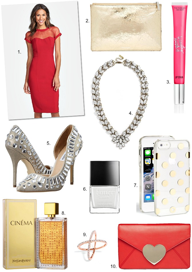 The Perfect Red Dress glitter metallic jewel heels pumps victorias secret lip stain review gold leather clutch ASOS butter london cottonbuds white nail polish kate spade gold polka dot iphone case red heart clutch cinema perfume yves saint laurent rose gold x ring baublebar statement garland brooch collar necklace fashion trends style elixir blog www.stylelixir.com blogger