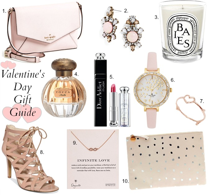 Valentines Day Ideas Gifts Kate Spade Nine West cage lace up shoes heels kate spade pink watch infinite necklace tocca stella perfume review dior lipstick diptyque candle moscow mule copper mug