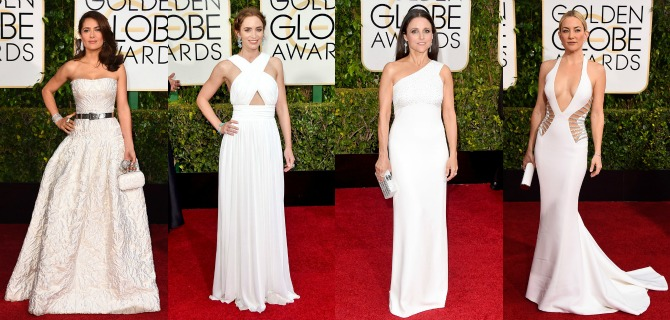 White Dresses Golden Globes red carpet fashion 2015 kate hudson salma hayek emily blunt dress