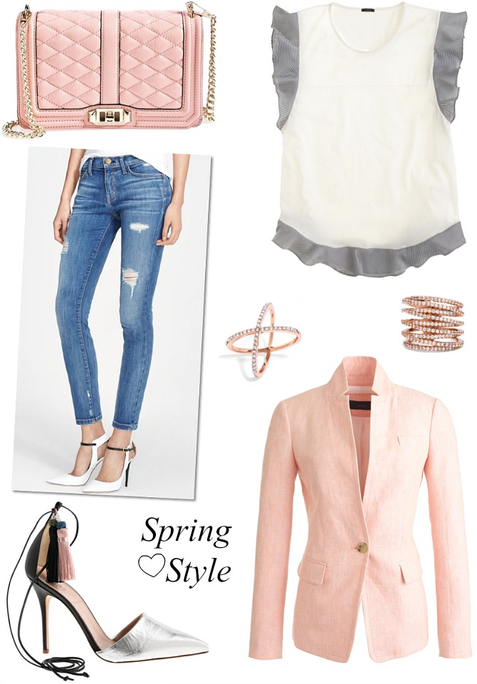 The perfect spring outfit j.crew pink blazer current elliott jeans cross ring stack fashion blogger style elixir blog