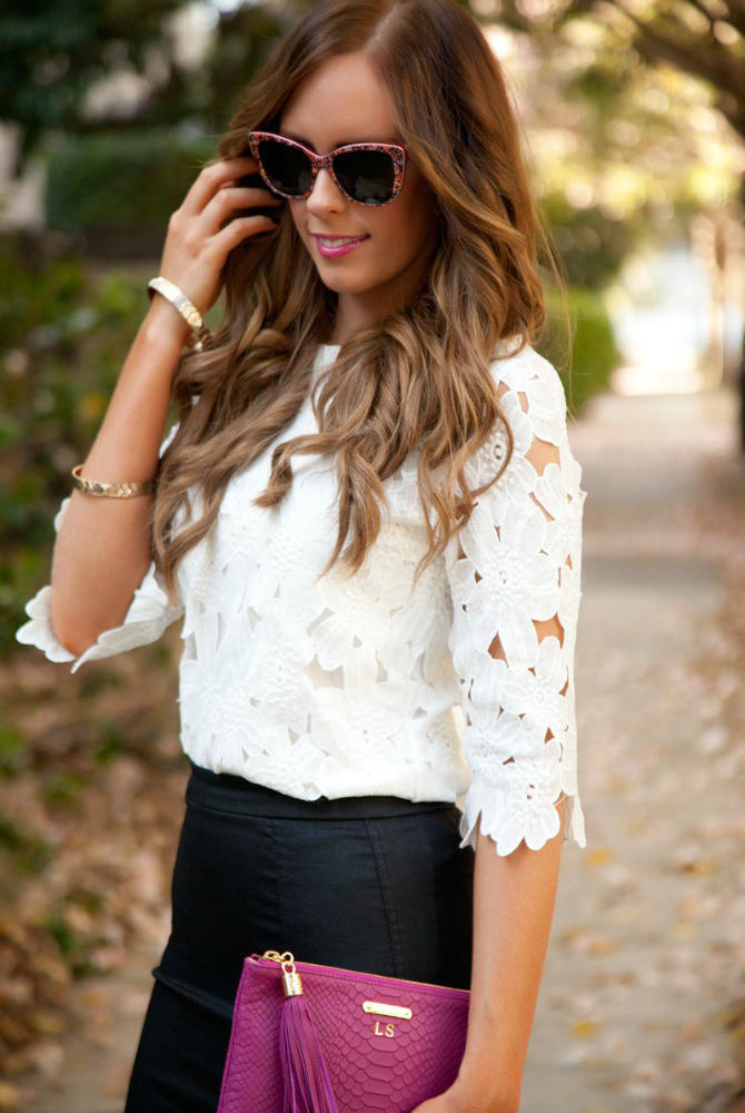 Spring Outfit Ideas white lace floral top black pencil skirt pink gigi new york monogram clutch bellami hair extensions fashion blogger