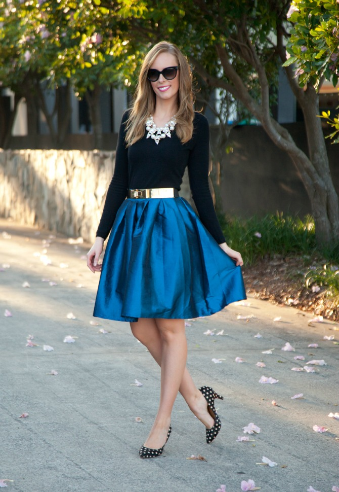 cobalt blue skirt party skirts gold bow belt prada sunglasses statement necklace stassi schroeder jewelry polka dot heels shoes fashion blogger lauren slade style elixir blog www.stylelixir.com