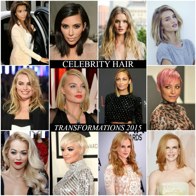 Celebrity Hair Cut 2015 kim kardashian margot robbie rosie huntington whiteley nicole kidman rita ora nichole richie new hair cut style 2015 lob cut pixie