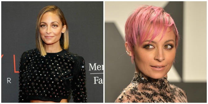 Nicole Richie lob short hair pink pixie hair cut 2015