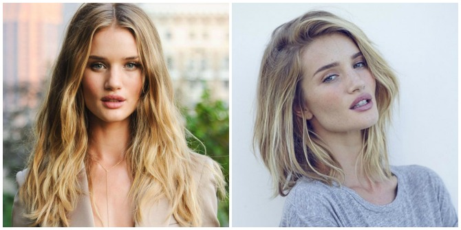 Rosie Huntington Whiteley short hair cut 2015 lob