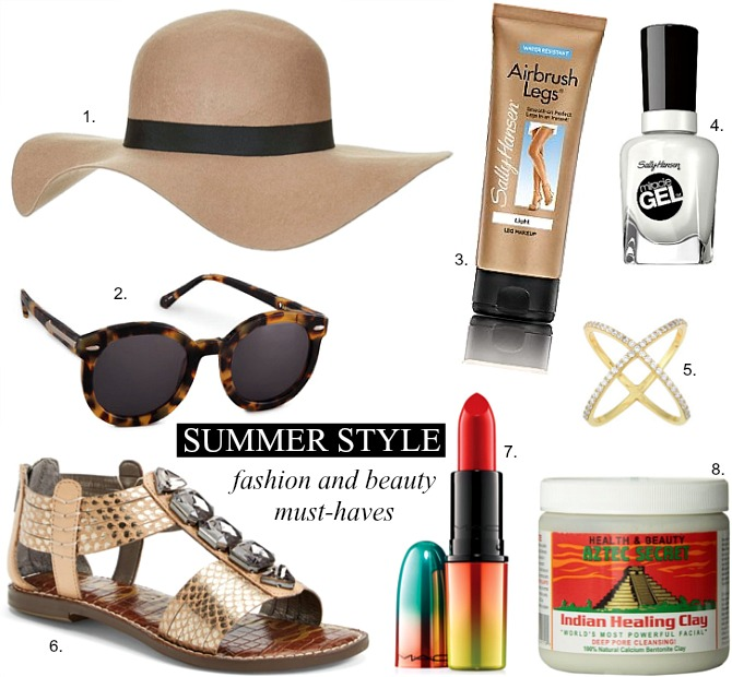 summer fashion and beauty mac lipstick wool beige floppy hat metallic sandals indian healing clay best face mask