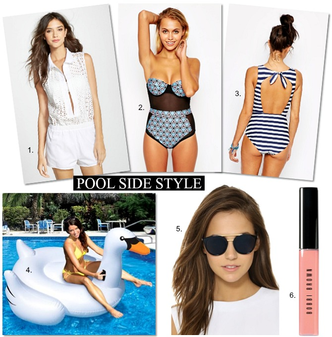 Pool Side Style Le Specs Sunglasses swan pool float stripe swimsuit bobbi brown lip gloss syle elixir blog summer fashion trends