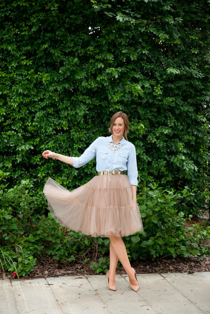 tulle skirt chambray shirt the best skirts