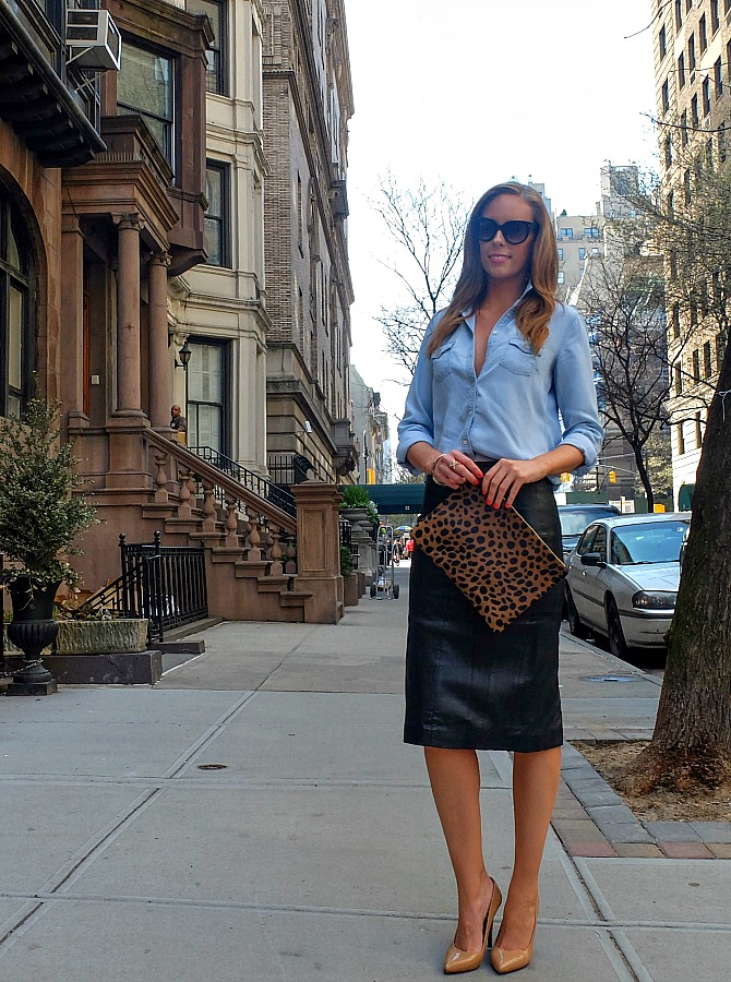 new york fashion leather pencil skirt chambray shirt